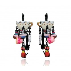 Lol Bijoux - Boucles d'Oreilles - Tasse Beige - Chat Orange