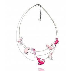 Lol Bijoux - Collier Chat - Multi Rangs - Rose