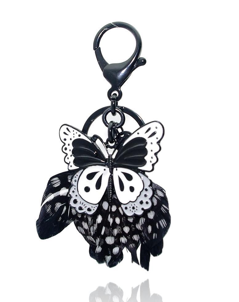 Lol Bijoux Noir Sautoir Papillon Plumes Collier