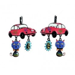 Lol bijoux - Boucles d'Oreilles Pop Art - Chat - Coccinelle - Cox - Fuchsia