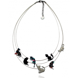 Lol Bijoux - Collier Chat - Multi Rangs - Gris - Noir