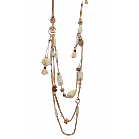 Ikita® - Collier Naturel - Beige Blanc - Coquillages - Bohème Chic