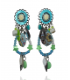 Ikita - Boucles d'Oreilles Clips - Perles et Etoiles - Bleu Ciel - Vert Anis
