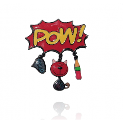 Lol bijoux - Broche Pop Art - Pow - Chat Rouge
