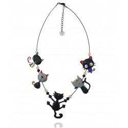 Lol Bijoux - Collier Chat - Farandole - Multi Rangs - Noir