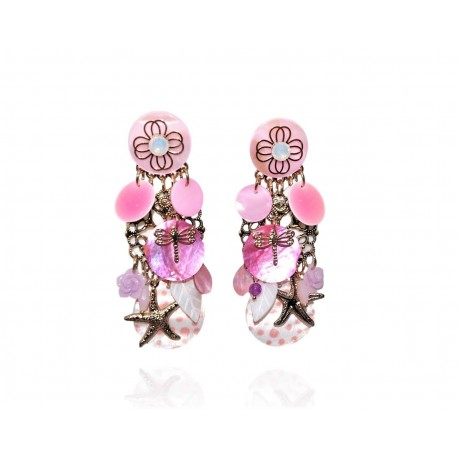 Ikita - Boucles d'Oreilles Clips - Ornella - Rose