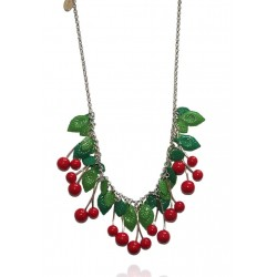 Belle Miss - Collier Cerise Rouge - Feuille Verte