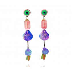 Mila & Stories - Boucles d'Oreilles Ariel - Coquillages - Rose - Irisé