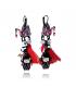 Lol Bijoux - Boucles d'Oreilles au Pays des Pandas - Cygne et Pompon - Rouge