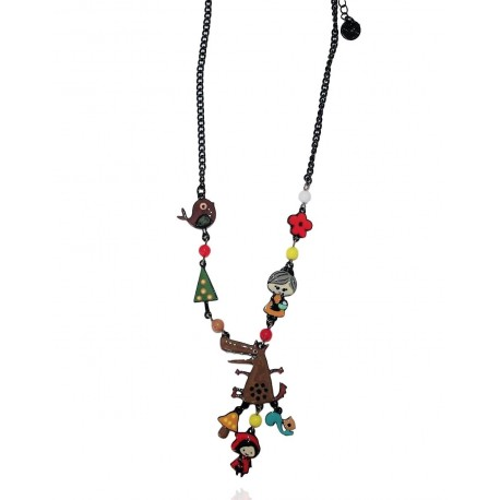 Lol Bijoux - Collier Chaperon Rouge - Loup Marrron