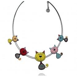 Lol Bijoux - Collier Chat - Farandole - Multicolore