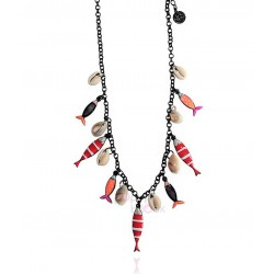 Lol bijoux - Collier sardines - Rouge & Orange - Coquillages