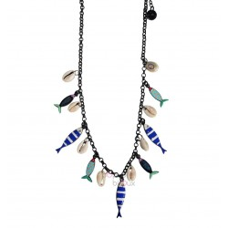 Lol bijoux - Collier sardines - Bleu - Coquillages