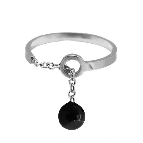 Ikita - Bague Boule Noire - Chainette Or