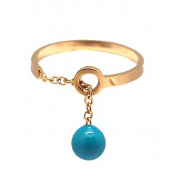 Ikita - Bague Boule Turquoise - Chainette Or