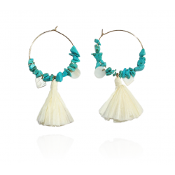 Mila and Stories - Boucles d'oreilles Pompon Rafia Blanc - Turquoises