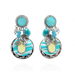 Ikita - Boucles d'Oreilles Clips - Suzana - Turquoise