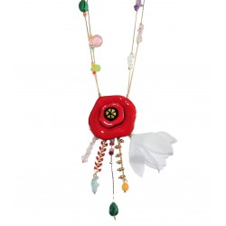 Lol Bijoux - Collier Coquelicot - Rouge Intense