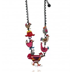Lol Bijoux - Collier Poule - Plume - Multicolore