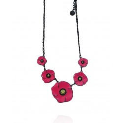 Lol Bijoux - Collier Coquelicots Printaniers - Rose Hollywood