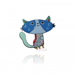 Lol Bijoux - Broche Chat - Bleu